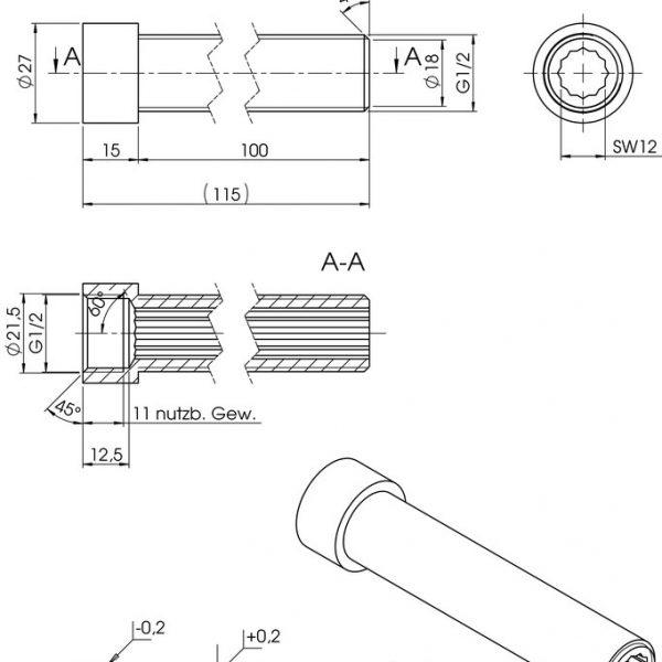 Hahnverlängerung 100 mm Zeichnung