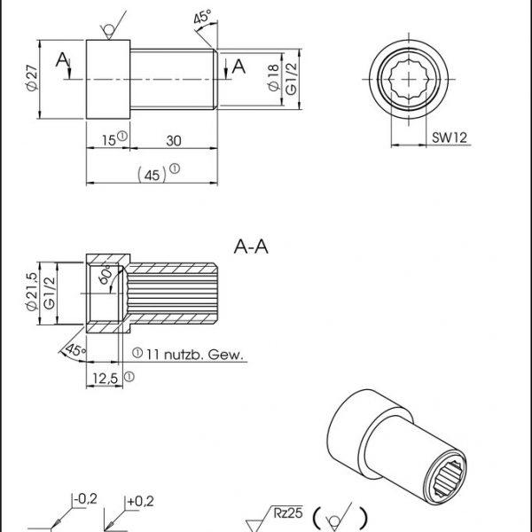 Hahnverlängerung 30 mm Zeichnung