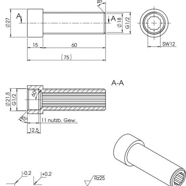 Hahnverlängerung 60 mm Zeichnung