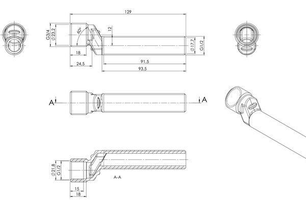 S-Anschluss 100 mm Zeichnung