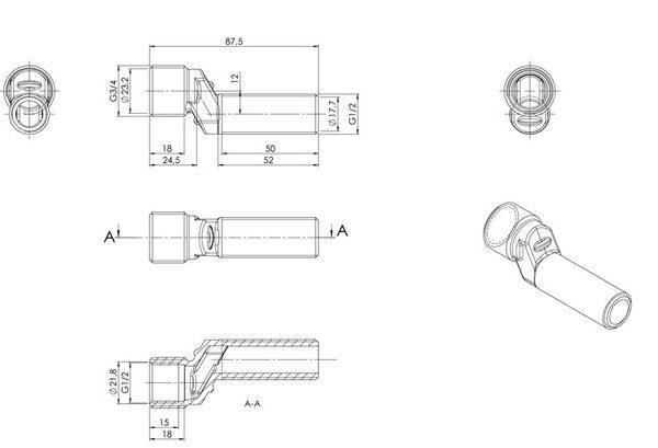 S-Anschluss 50 mm Zeichnung